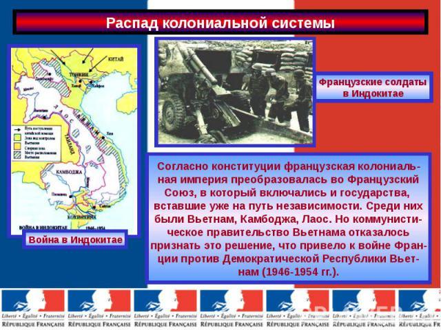 Согласно конституции французская колониаль-ная империя преобразовалась во ФранцузскийСоюз, в который включались и государства, вставшие уже на путь независимости. Среди нихбыли Вьетнам, Камбоджа, Лаос. Но коммунисти-ческое правительство Вьетнама отк…