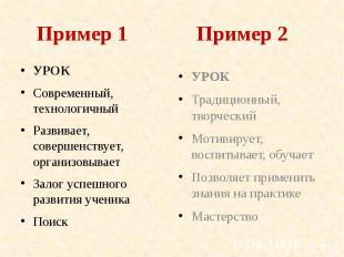 Пример 1 Пример 2 УРОК Современный, технологичный Развивает, совершенствует, орг