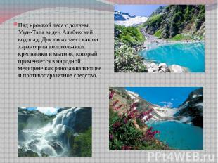 Над кромкой леса с долины Узун-Тала виден Алибекский водопад. Для таких мест как