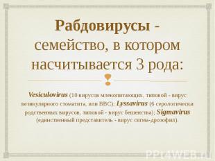 Рабдовирусы- семейство, в котором насчитывается 3 рода: Vesiculovirus (10 вирус