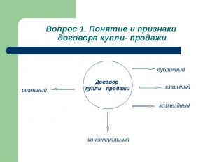 Вопрос 1. Понятие и признаки договора купли- продажи