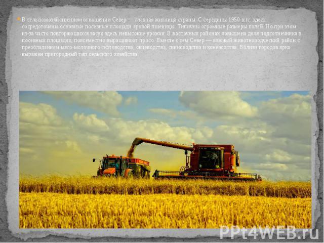 В сельскохозяйственном отношении Север — главная житница страны. С середины 1950-х гг. здесь сосредоточены основные посевные площади яровой пшеницы. Типичны огромные размеры полей. Но при этом из-за часто повторяющихся засух здесь невысокие урожаи. …