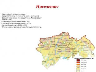 Население: 24% от общей численности страны Средняя плотность – 6,3 чел/км² (2 ме