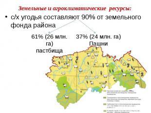 Земельные и агроклиматические ресурсы: с/х угодья составляют 90% от земельного ф