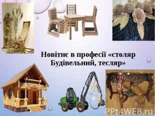 Новітнє в професії «столяр Будівельний, тесляр»