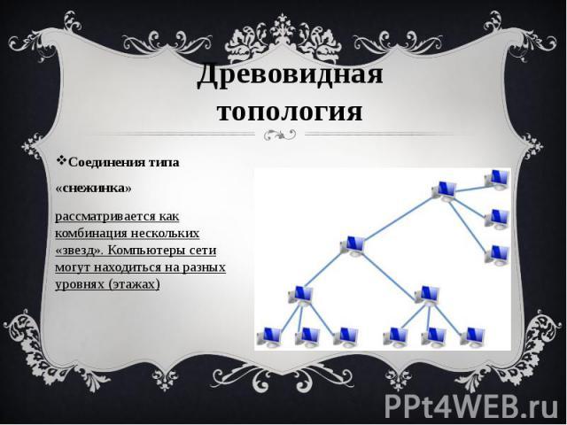 Соединения типа «снежинка» Соединения типа «снежинка» рассматривается как комбинация нескольких «звезд».Компьютеры сети могут находиться на разных уровнях (этажах)