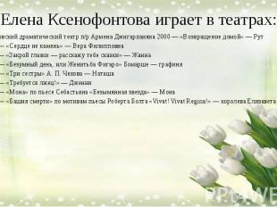 Елена Ксенофонтова играет в театрах: Московский драматический театр п/р Армена Д