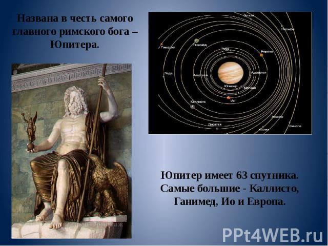 Юпитер имеет 63 спутника. Самые большие - Каллисто, Ганимед, Ио и Европа. Названа в честь самого главного римского бога – Юпитера.