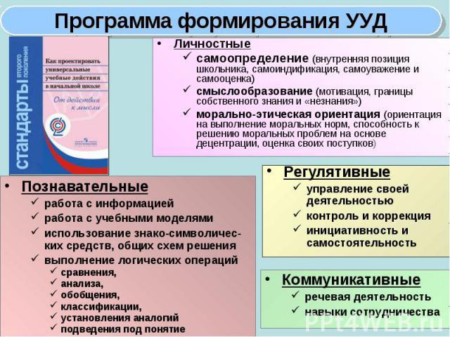 Личностные Личностные самоопределение (внутренняя позиция школьника, самоиндификация, самоуважение и самооценка) смыслообразование (мотивация, границы собственного знания и «незнания») морально-этическая ориентация (ориентация на выполнение моральны…