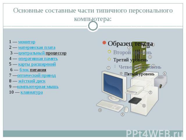 Основные составные части типичного персонального компьютера: