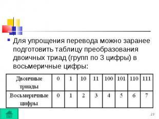 Для упрощения перевода можно заранее подготовить таблицу преобразования двоичных