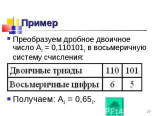 Преобразуем дробное двоичное число А2 = 0,1101012 в восьмеричную систему счислен