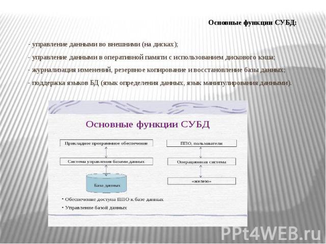 - управление данными во внешними (на дисках); - управление данными в оперативной памяти с использованием дискового кэша; - журнализация изменений, резервное копирование и восстановление базы данных; - поддержка языков БД (язык определения данных, яз…