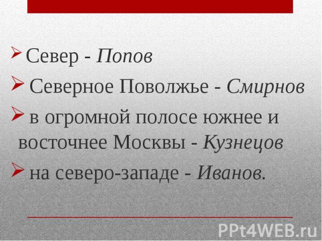 Север - Попов Север - Попов Северное Поволжье - Смирнов в огромной полосе южнее и восточнее Москвы - Кузнецов на северо-западе - Иванов.