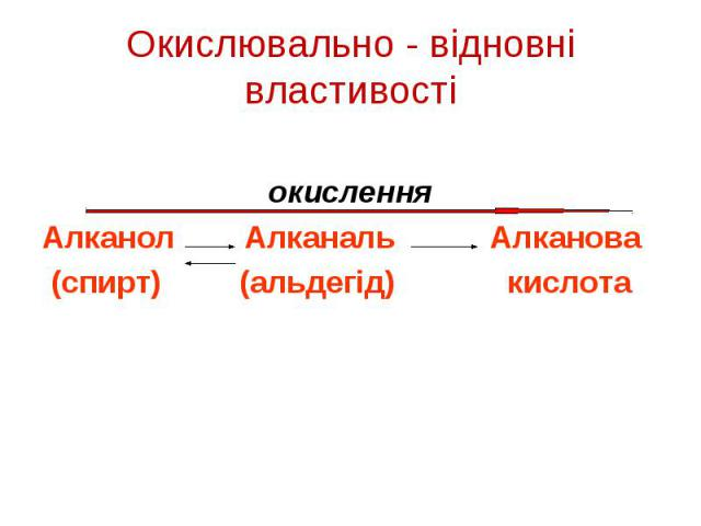 окислення Алканол Алканаль Алканова (спирт) (альдегід) кислота