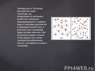 Ленгмюр писал: Исключая пространство около электродов, где обнаруживается неболь