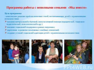 Программа работы с неполными семьями «Мы вместе» Цель программы: - комплексное р