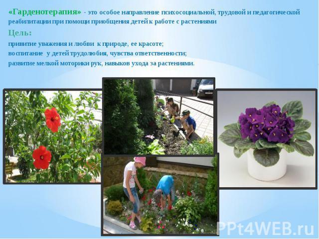 «Гарденотерапия» - это особое направление психосоциальной, трудовой и педагогической реабилитации при помощи приобщения детей к работе с растениями «Гарденотерапия» - это особое направление психосоциальной, трудовой и педагогической реабилитации при…