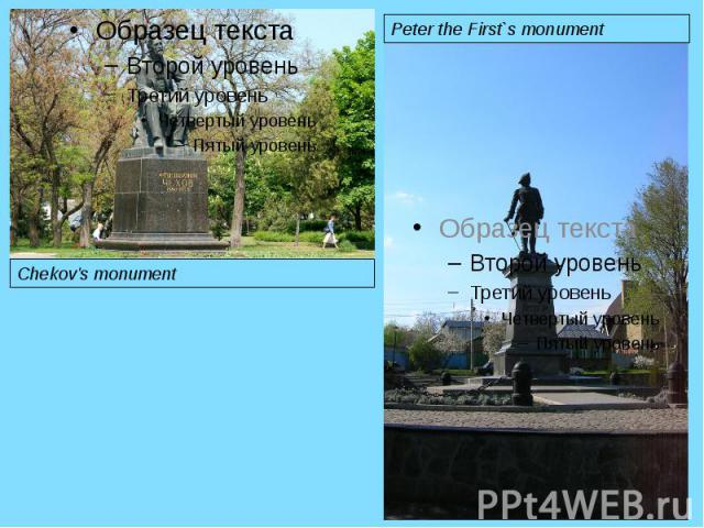 Chekov's monument Peter the First`s monument