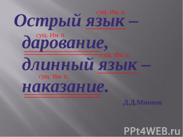Острый язык – дарование, длинный язык – наказание. Д.Д.Минаев