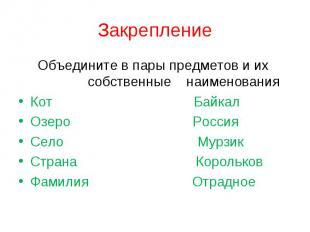 Закрепление Объедините в пары предметов и их собственные наименованияКот БайкалО