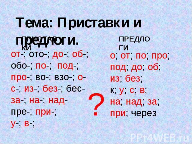 Тема: Приставки и предлоги. ПРИСТАВКИот-; ото-; до-; об-; обо-; по-; под-; про-; во-; взо-; о-с-; из-; без-; бес-за-; на-; над-пре-; при-;у-; в-;ПРЕДЛОГИо; от; по; про;под; до; об;из; без; к; у; с; в; на; над; за;при; через