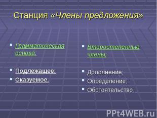 Станция «Члены предложения» Грамматическая основа:Подлежащее;Сказуемое.Второстеп