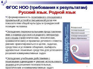 ФГОС НОО (требования к результатам) Русский язык. Родной язык Сформированность п