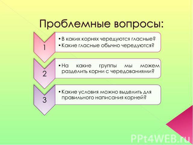 Проблемные вопросы: В каких корнях чередуются гласные?Какие гласные обычно чередуются?На какие группы мы можем разделить корни с чередованиями? Какие условия можно выделить для правильного написания корней?
