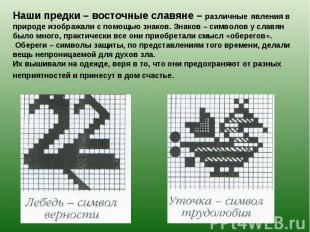 Наши предки – восточные славяне – различные явления в природе изображали с помощ