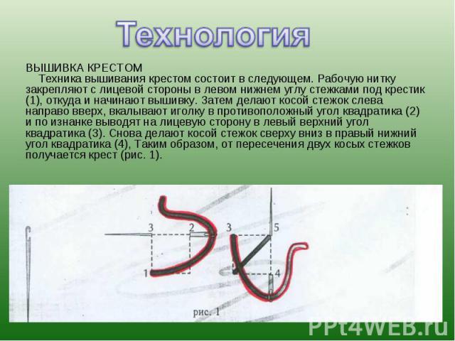 ВЫШИВКА КРЕСТОМ Техника вышивания крестом состоит в следующем. Рабочую нитку закрепляют с лицевой стороны в левом нижнем углу стежками под крестик (1), откуда и начинают вышивку. Затем делают косой стежок слева направо вверх, вкалывают иголку в прот…