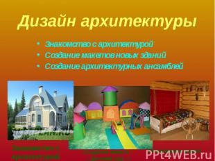 Дизайн архитектуры Знакомство с архитектуройСоздание макетов новых зданийСоздани