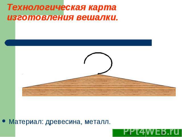 Технологическая карта изготовления вешалки. Материал: древесина, металл.