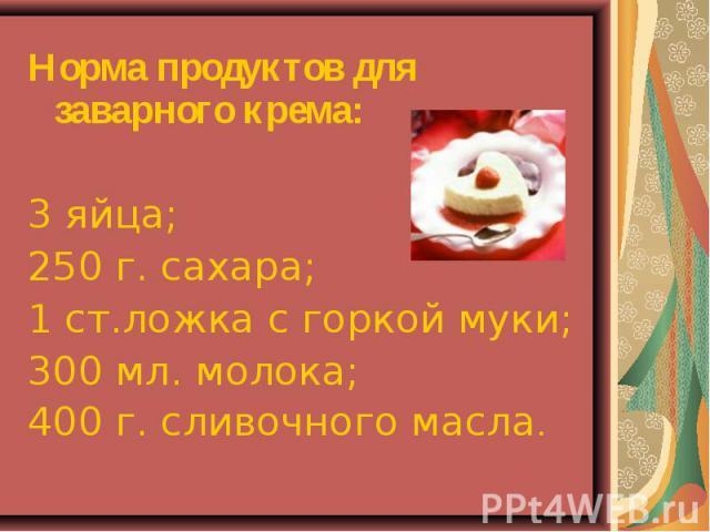Норма продуктов для заварного крема:3 яйца;250 г. сахара;1 ст.ложка с горкой муки;300 мл. молока;400 г. сливочного масла.