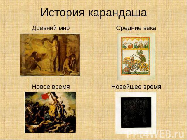 История карандаша Древний мирСредние векаНовое времяНовейшее время