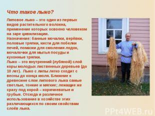 Что такое лыко?Липовое лыко – это один из первых видов растительного волокна, пр