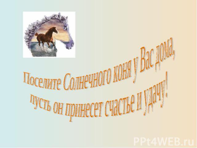 Поселите Солнечного коня у Вас дома,пусть он принесет счастье и удачу!