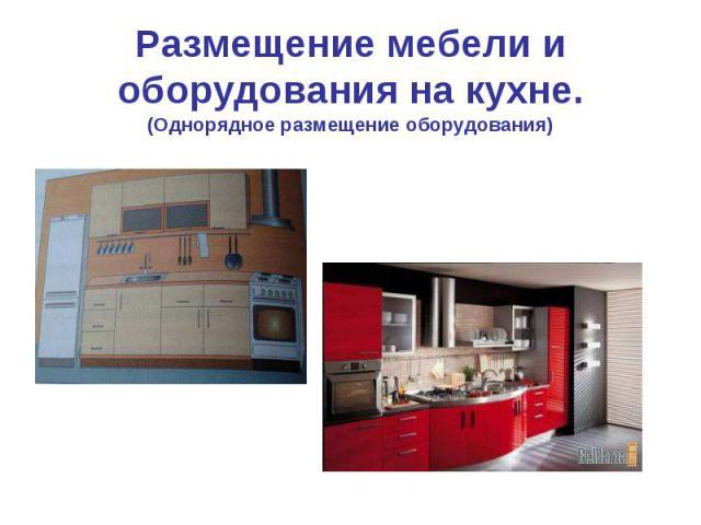 Размещение мебели и оборудования на кухне.(Однорядное размещение оборудования)
