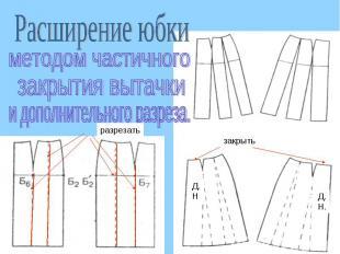 Расширение юбкиметодом частичногозакрытия вытачкии дополнительного разреза.