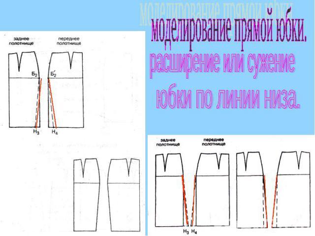 моделирование прямой юбки.расширение или сужениеюбки по линии низа.