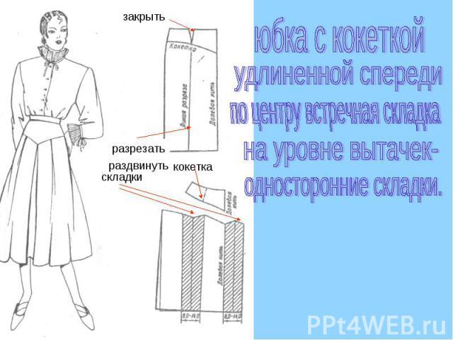 юбка с кокеткойудлиненной спередипо центру встречная складкана уровне вытачек-односторонние складки.