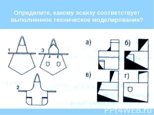 Определите, какому эскизу соответствует выполненное техническое моделирование?