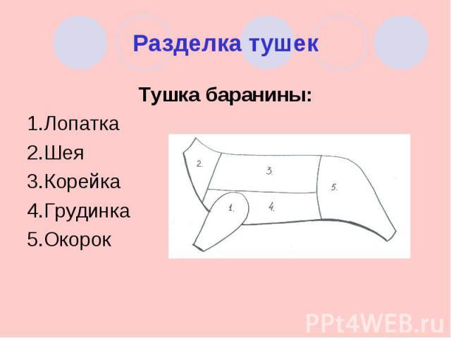 Разделка тушек Тушка баранины:1.Лопатка2.Шея3.Корейка4.Грудинка5.Окорок