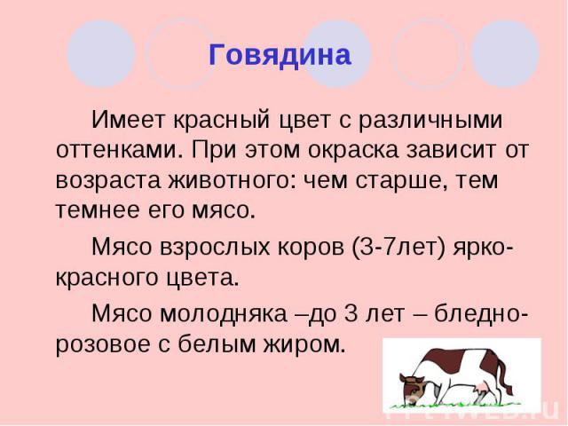 Говядина Имеет красный цвет с различными оттенками. При этом окраска зависит от возраста животного: чем старше, тем темнее его мясо.Мясо взрослых коров (3-7лет) ярко-красного цвета.Мясо молодняка –до 3 лет – бледно-розовое с белым жиром.