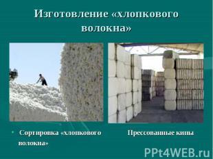 Изготовление «хлопкового волокна» Сортировка «хлопкового Прессованные кипы волок