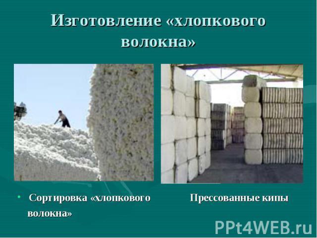 Изготовление «хлопкового волокна» Сортировка «хлопкового Прессованные кипы волокна»