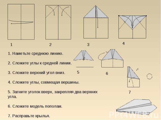 1. Наметьте среднюю линию.2. Сложите углы к средней линии.3. Сложите верхний угол вниз.4. Сложите углы, совмещая вершины.5. Загните уголок вверх, закрепляя два верхних угла.6. Сложите модель пополам.7. Расправьте крылья.