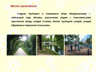 Место проведения Усадьба Трубецких в Хамовниках (Парк Мандельштама) — небольшой