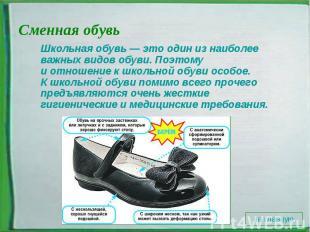 Сменная обувь Школьная обувь— этоодин изнаиболее важных видов обуви. Поэтому