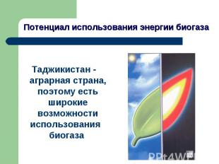 Потенциал использования энергии биогаза Таджикистан - аграрная страна, поэтому е